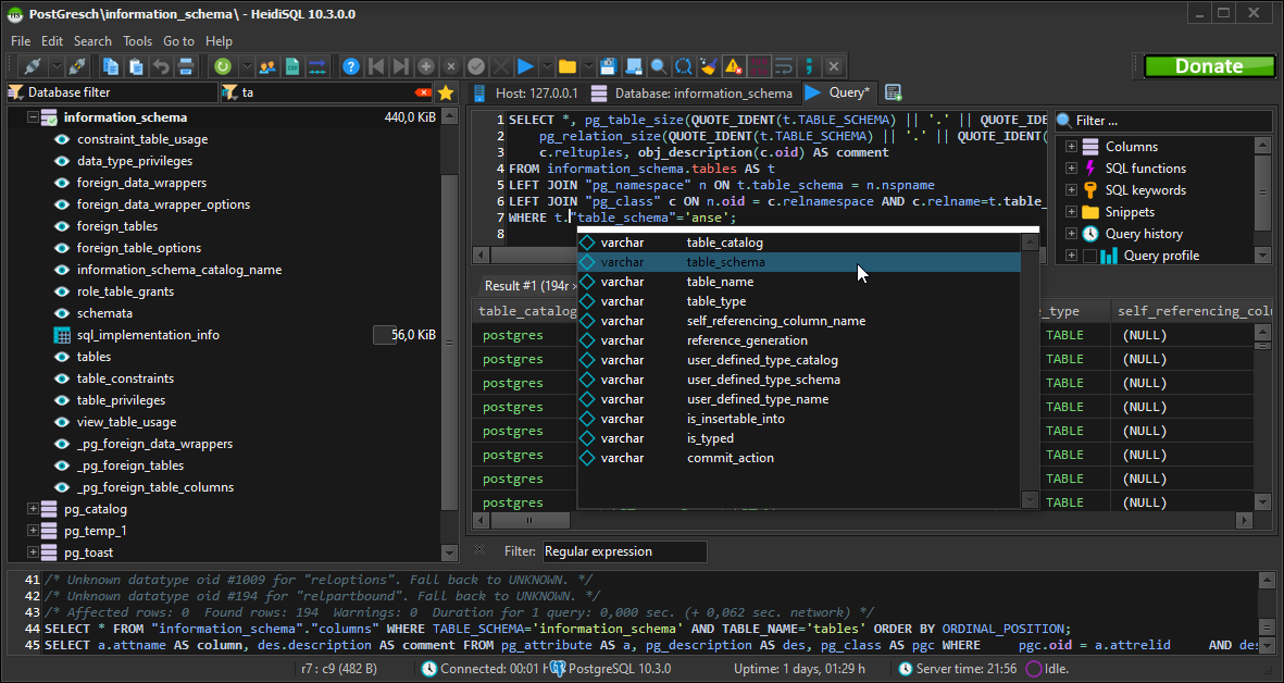 SQL code editor