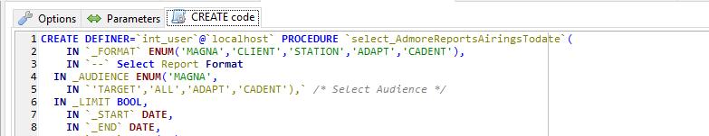 MySQL Stored Proc comment parsing
