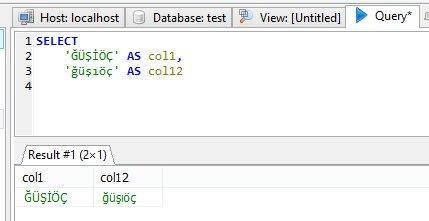 MySQL VIEW definition UTF8 character problem