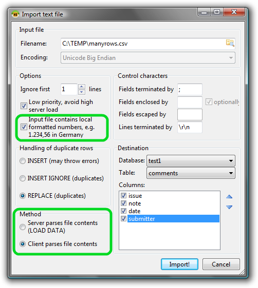 Import text file dialog with new features